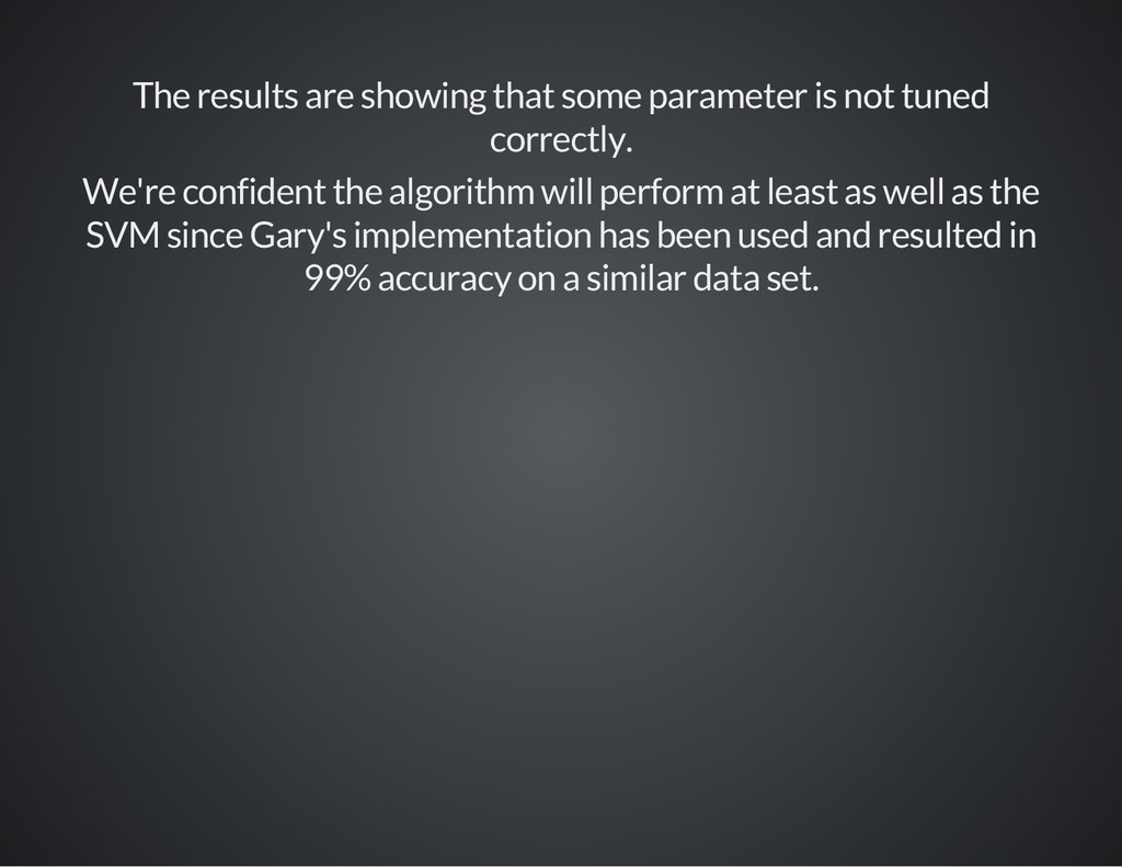 The results are showing that some parameter is ...