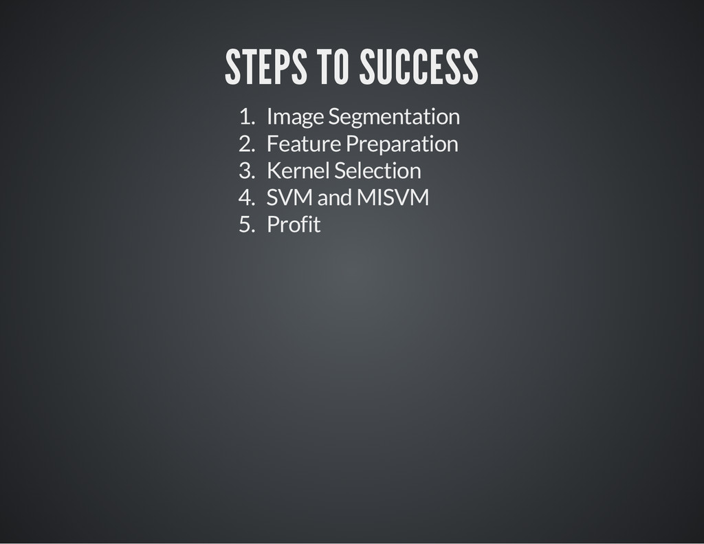 STEPS TO SUCCESS 1. Image Segmentation 2. Featu...