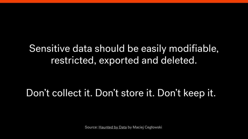 Sensitive data should be easily modifiable, rest...