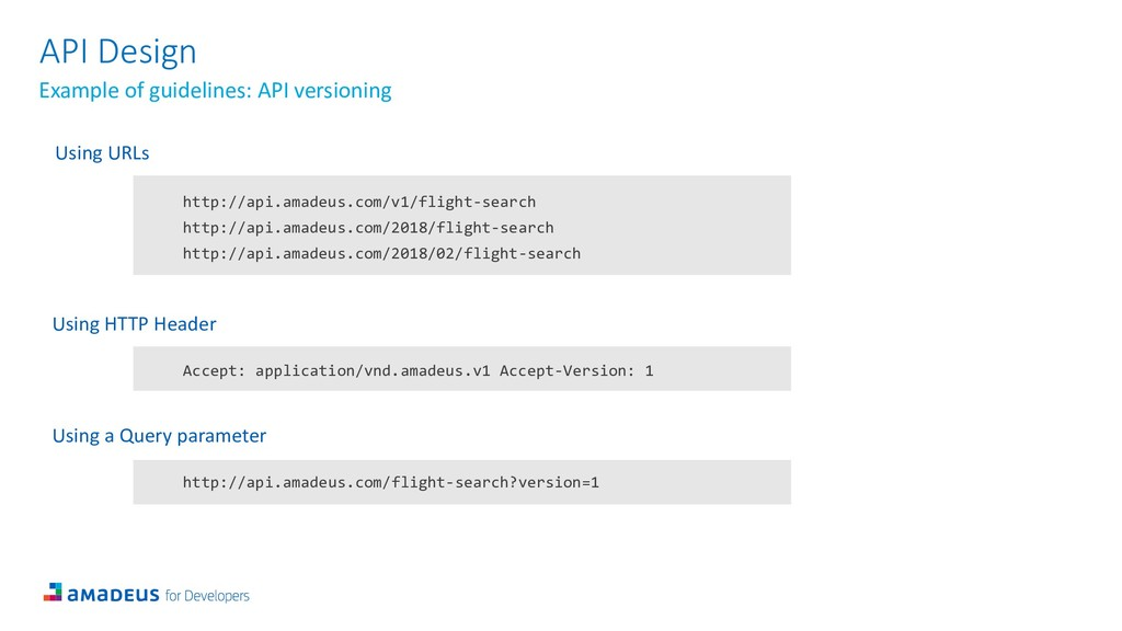 API Design Example of guidelines: API versionin...