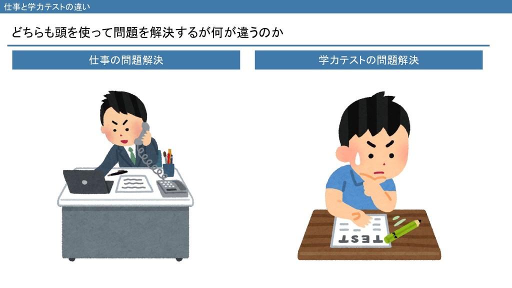 どちらも頭を使って問題を解決するが何が違うのか 仕事と学力テストの違い 仕事の問題解決 学力テ...