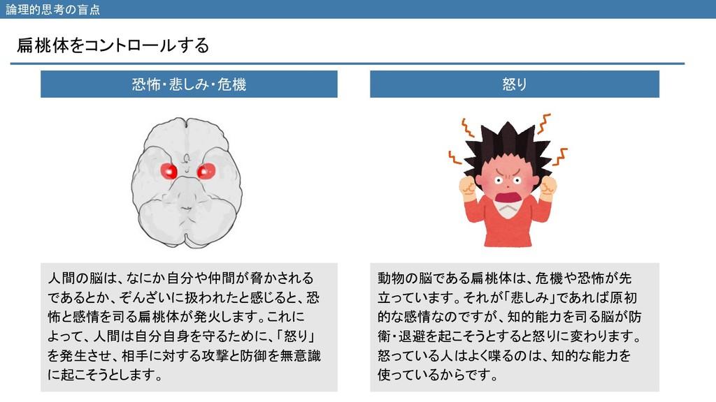 扁桃体をコントロールする 論理的思考の盲点 恐怖・悲しみ・危機 怒り 人間の脳は、なにか自分や...