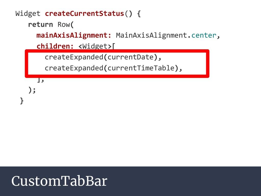 CustomTabBar Widget createCurrentStatus() { ret...