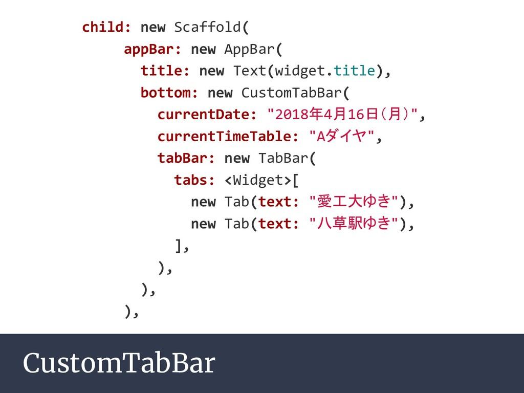 CustomTabBar child: new Scaffold( appBar: new A...