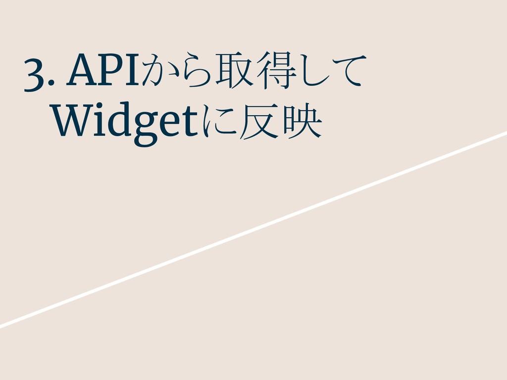 3. APIから取得して  Widgetに反映