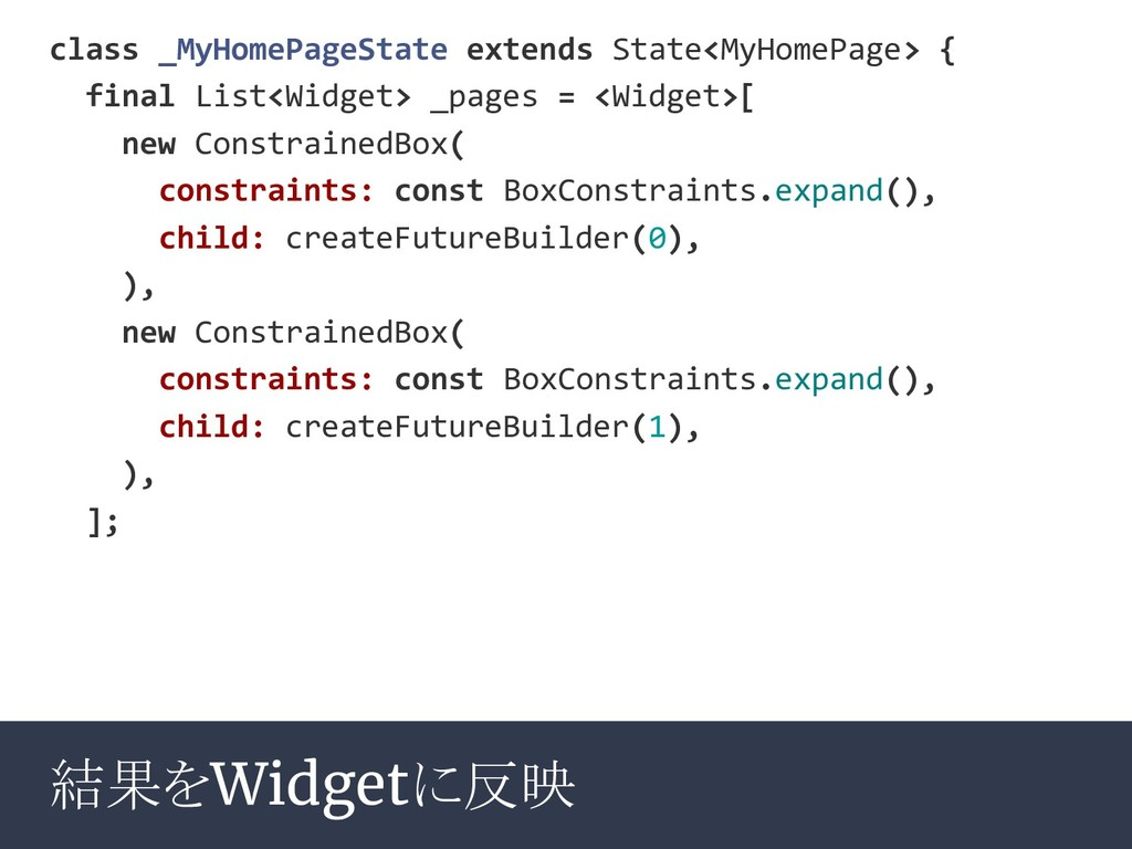 結果をWidgetに反映 class _MyHomePageState extends Sta...