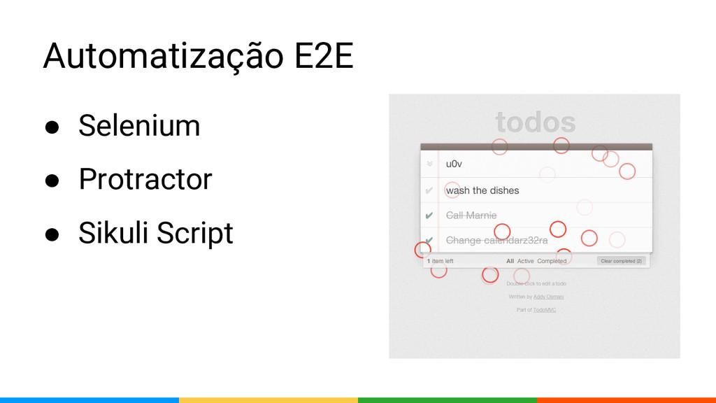 Automatização E2E ● Selenium ● Protractor ● Sik...