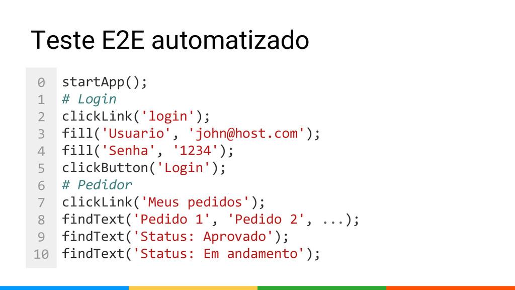 0 1 2 3 4 5 6 7 8 9 10 Teste E2E automatizado s...