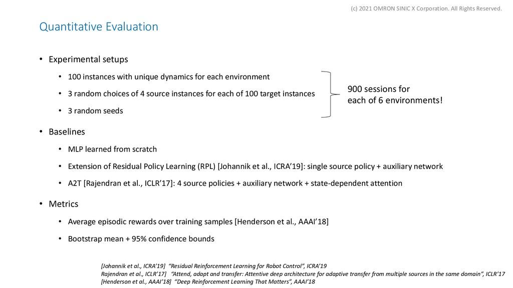 Quantitative Evaluation • Experimental setups •...