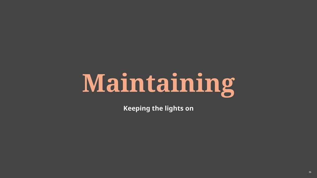 36 Maintaining Keeping the lights on