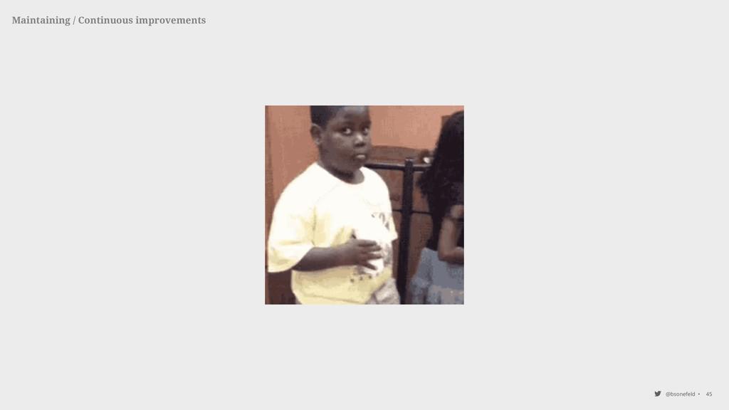 @bsonefeld • 45 Maintaining / Continuous improv...