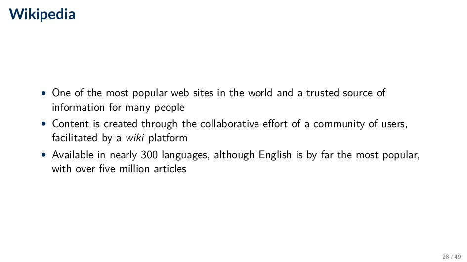 Wikipedia • One of the most popular web sites i...
