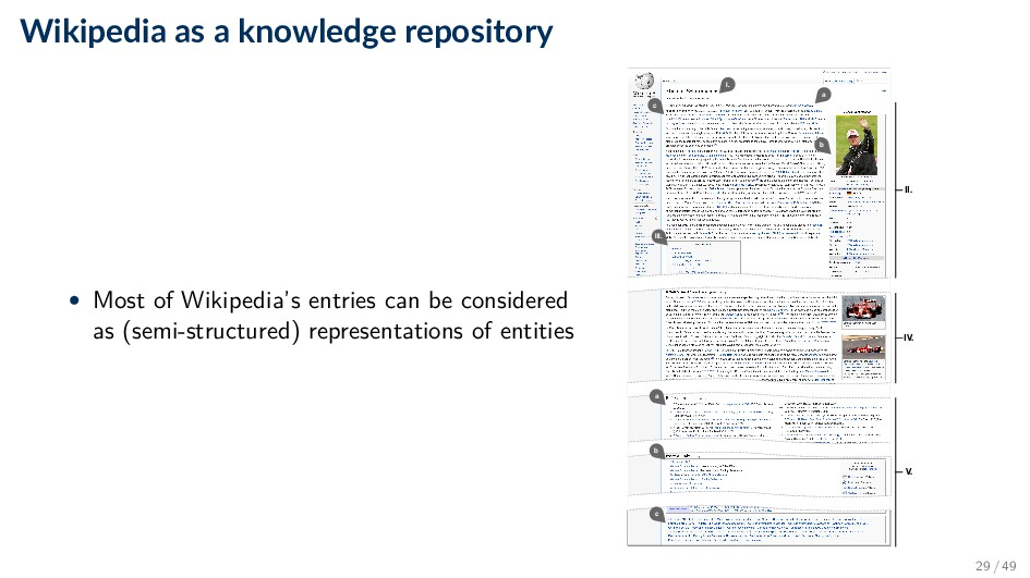 Wikipedia as a knowledge repository • Most of W...
