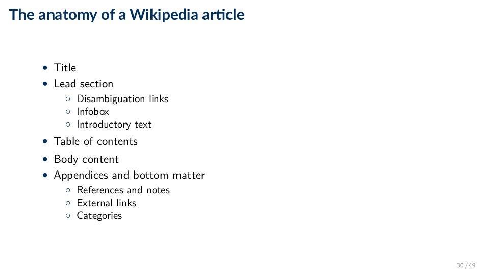 The anatomy of a Wikipedia ar cle • Title • Lea...