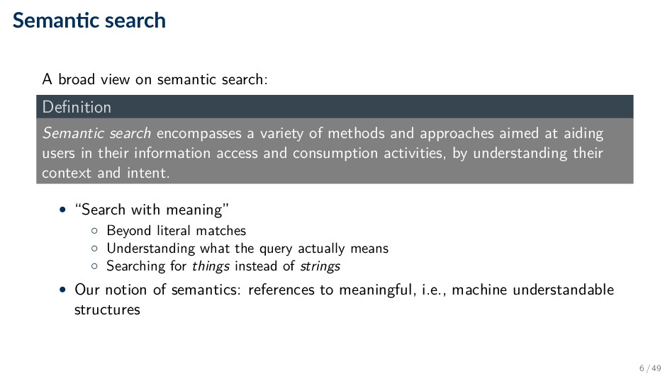 Seman c search A broad view on semantic search:...