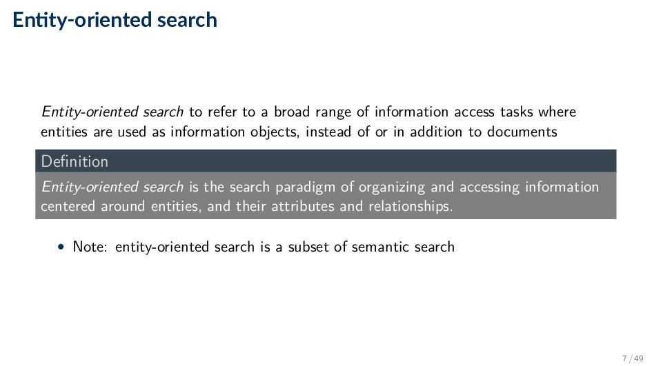 En ty-oriented search Entity-oriented search to...
