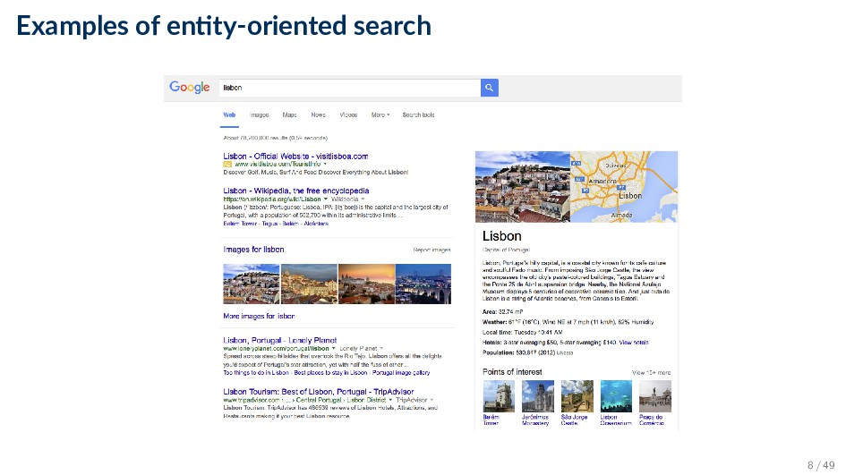 Examples of en ty-oriented search 8 / 49