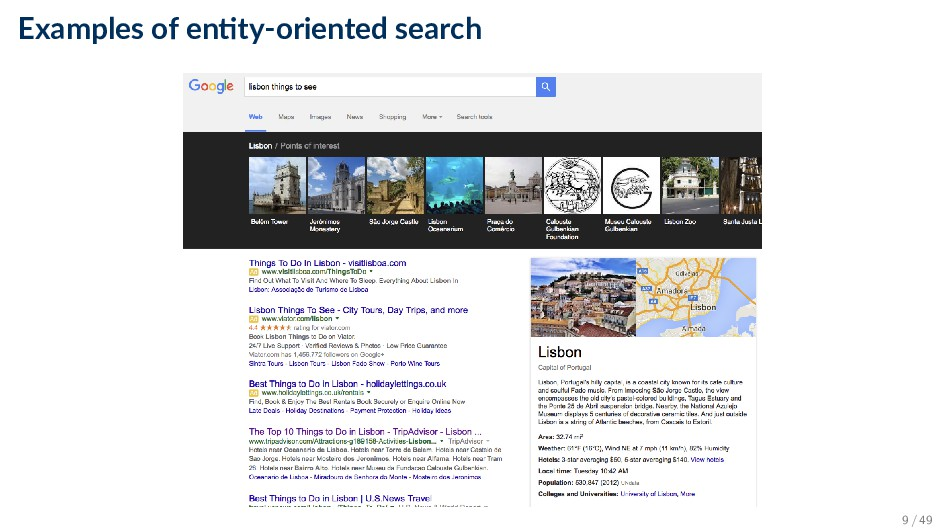 Examples of en ty-oriented search 9 / 49