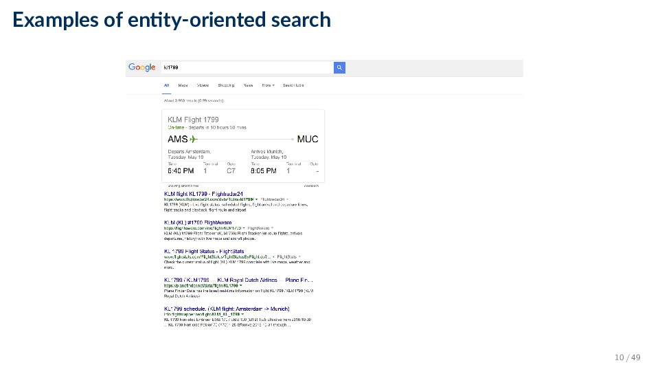 Examples of en ty-oriented search 10 / 49