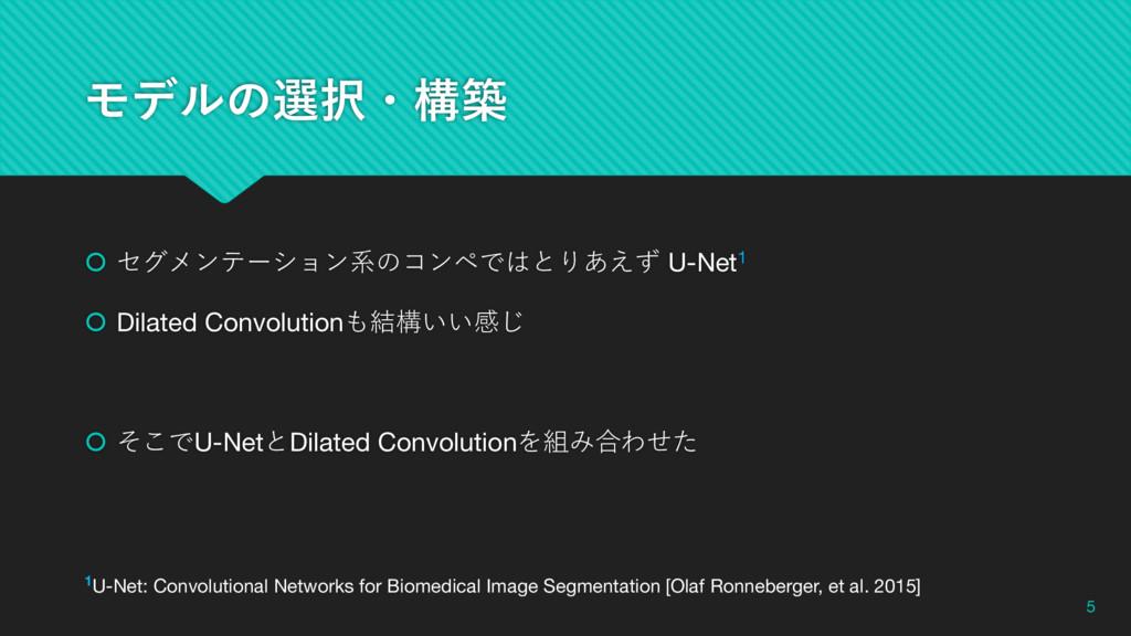 Ϟσϧͷબɾߏங š セグメンテーション系のコンペではとりあえず U-Net1 š Dila...