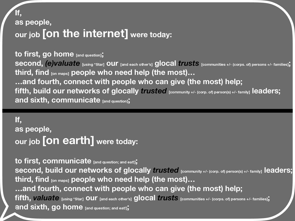 If, as people, our job [on earth] were today: t...