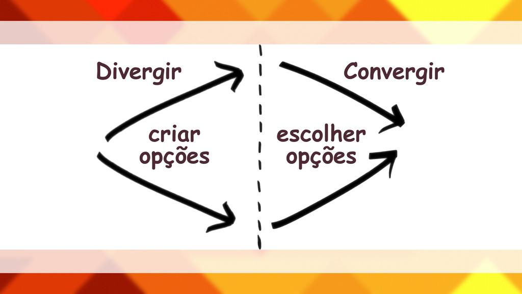 Divergir criar opções Convergir escolher opções