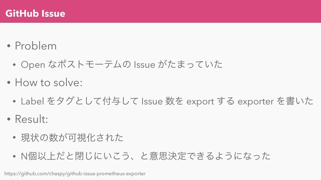 GitHub Issue • Problem • Open ͳϙετϞʔςϜͷ Issue ͕...