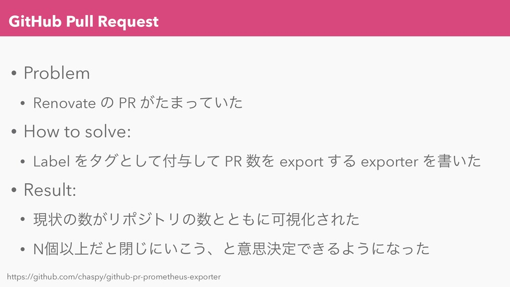 GitHub Pull Request • Problem • Renovate ͷ PR ͕...