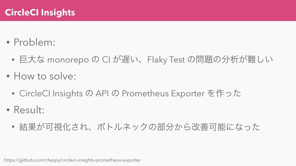CircleCI Insights • Problem: • ڊେͳ monorepo ͷ C...