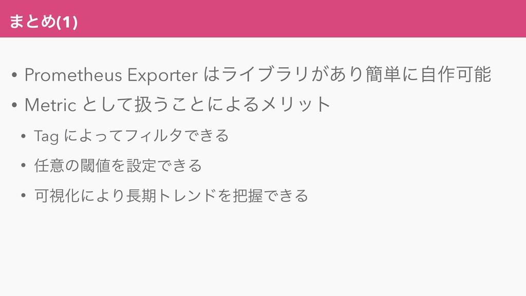 ·ͱΊ(1) • Prometheus Exporter ϥΠϒϥϦ͕͋Γ؆୯ʹࣗ࡞Մ •...