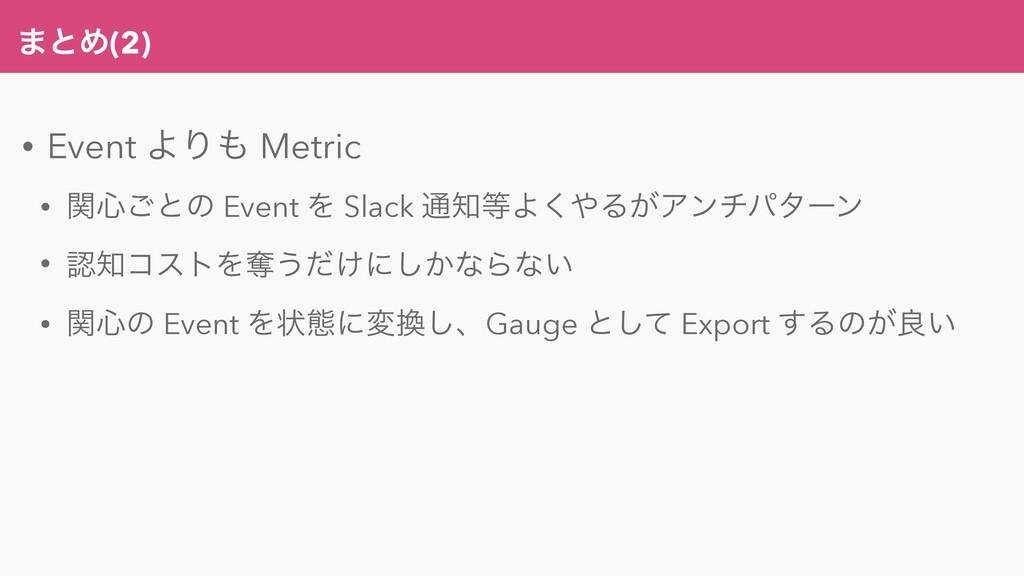 ·ͱΊ(2) • Event ΑΓ Metric • ؔ৺͝ͱͷ Event Λ Slack...