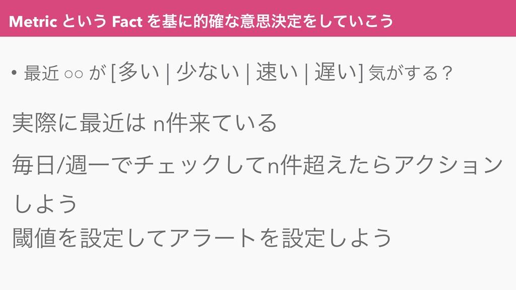 Metric ͱ͍͏ Fact Λجʹత֬ͳҙࢥܾఆΛ͍ͯ͜͠͏ • ࠷ۙ ○○ ͕ [ଟ͍ ...