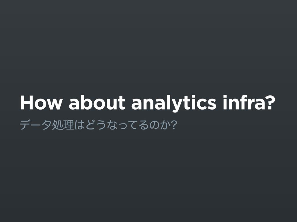How about analytics infra? σʔλॲཧͲ͏ͳͬͯΔͷ͔