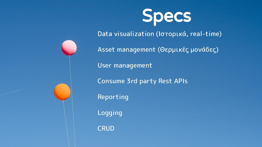 Specs Data visualization (Ιστορικά, real-time) ...