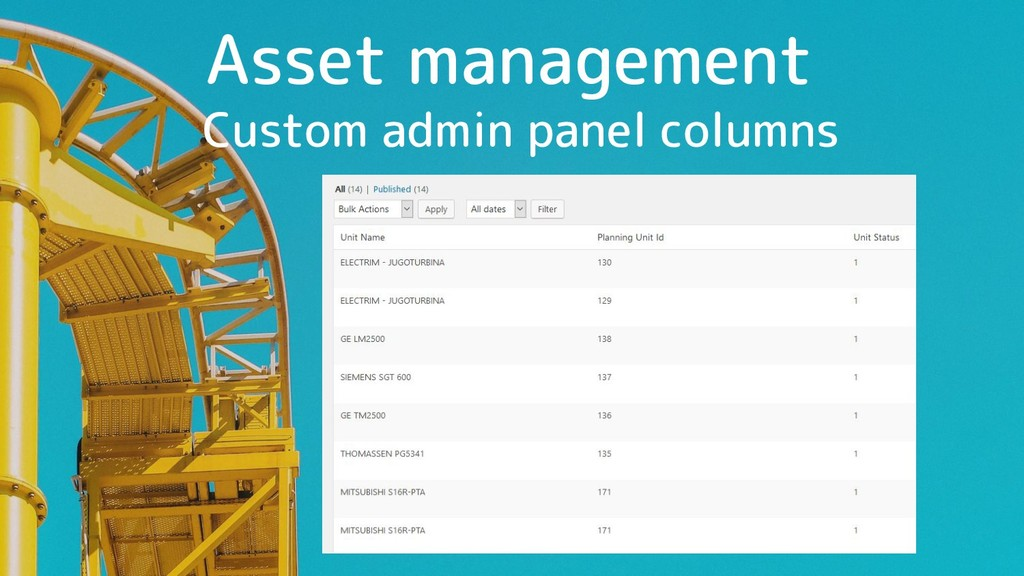 Asset management Custom admin panel columns