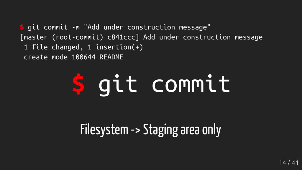 """14 / 41 $ git commit $ git commit -m """"Add under..."""