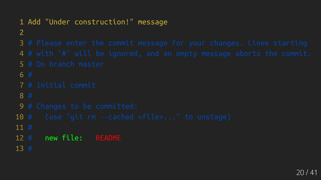 """20 / 41 1 Add """"Under construction!"""" message 2 3..."""