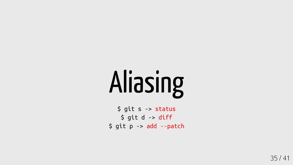 35 / 41 Aliasing $ git s -> status $ git d -> d...