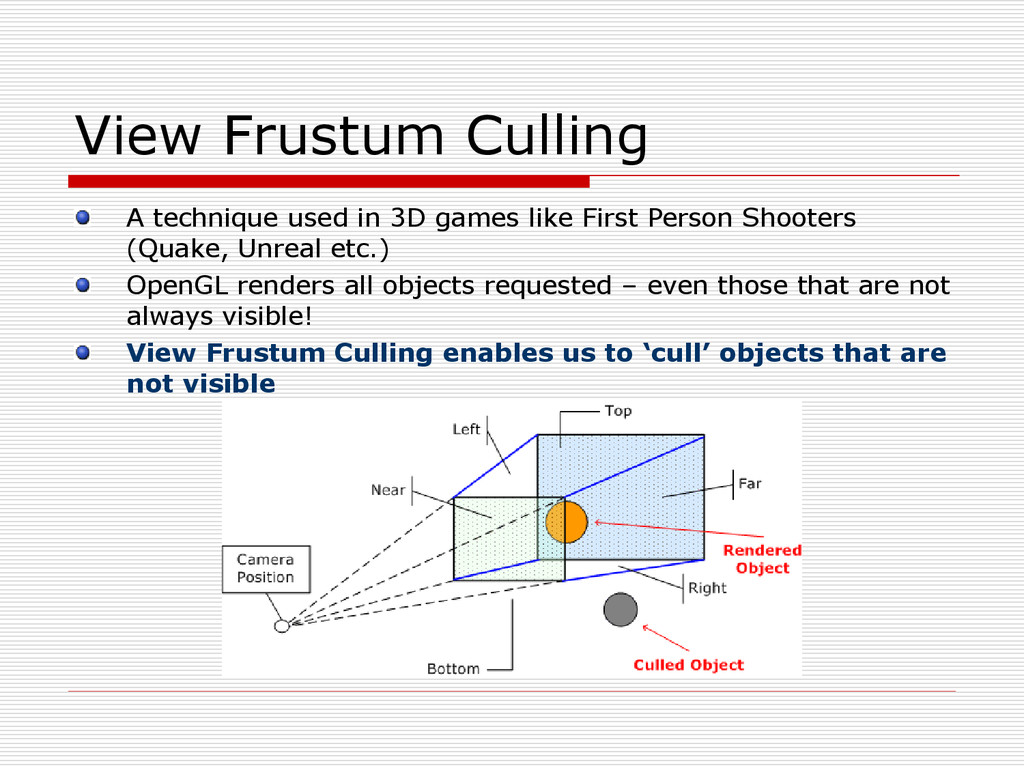 View Frustum Culling A technique used in 3D gam...