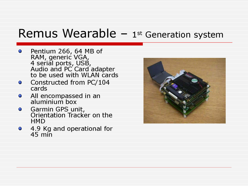 Remus Wearable – 1st Generation system Pentium ...