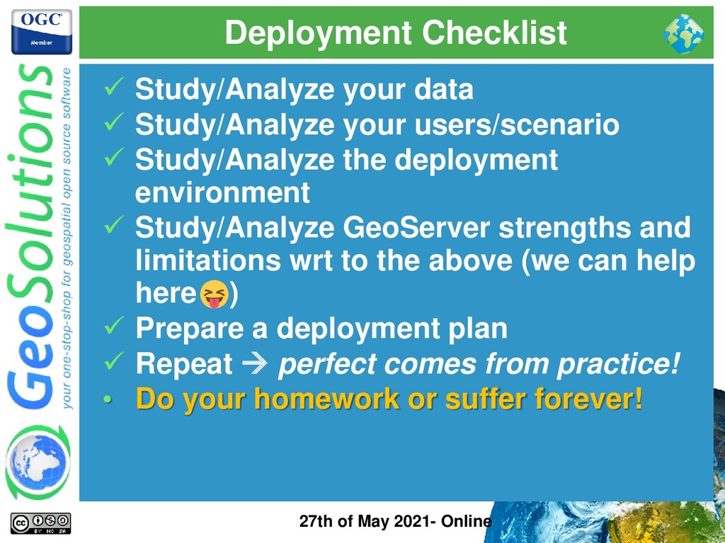 Deployment Checklist 27th of May 2021- Online ✓...