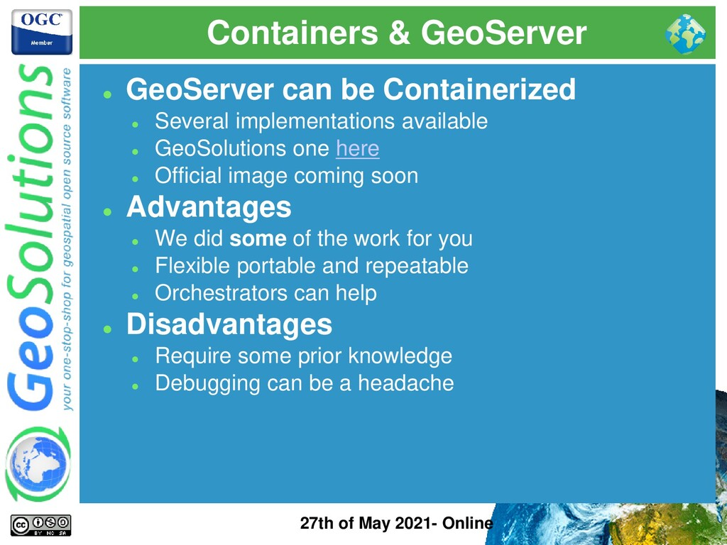 Containers & GeoServer 27th of May 2021- Online...