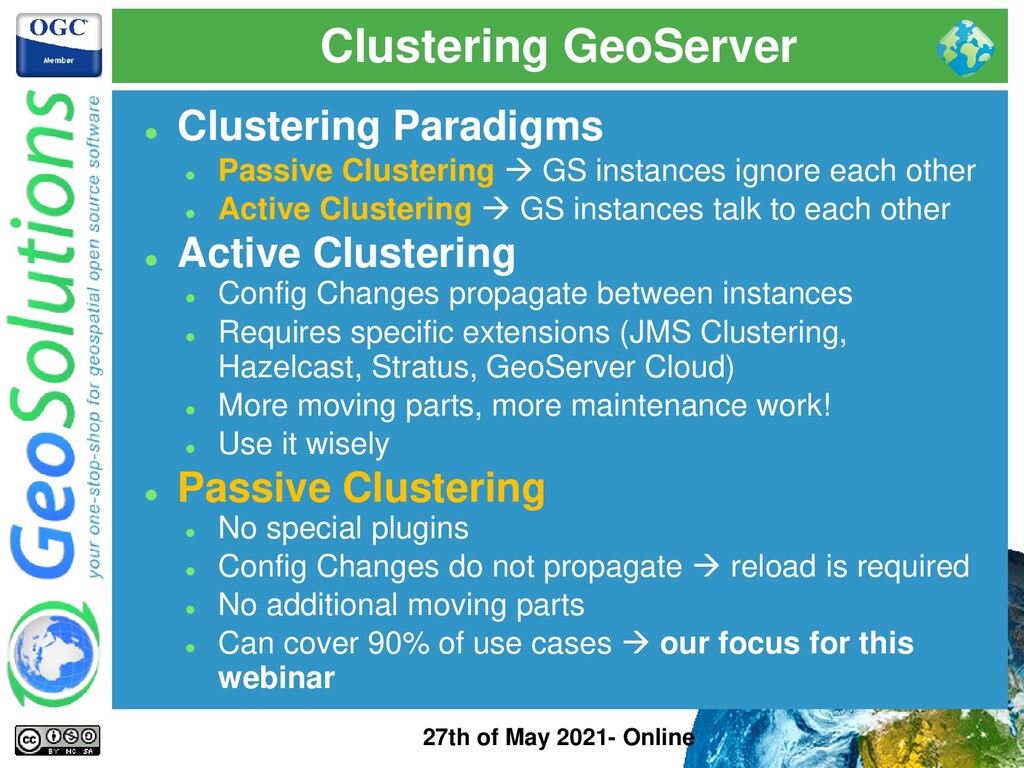 Clustering GeoServer 27th of May 2021- Online ⚫...