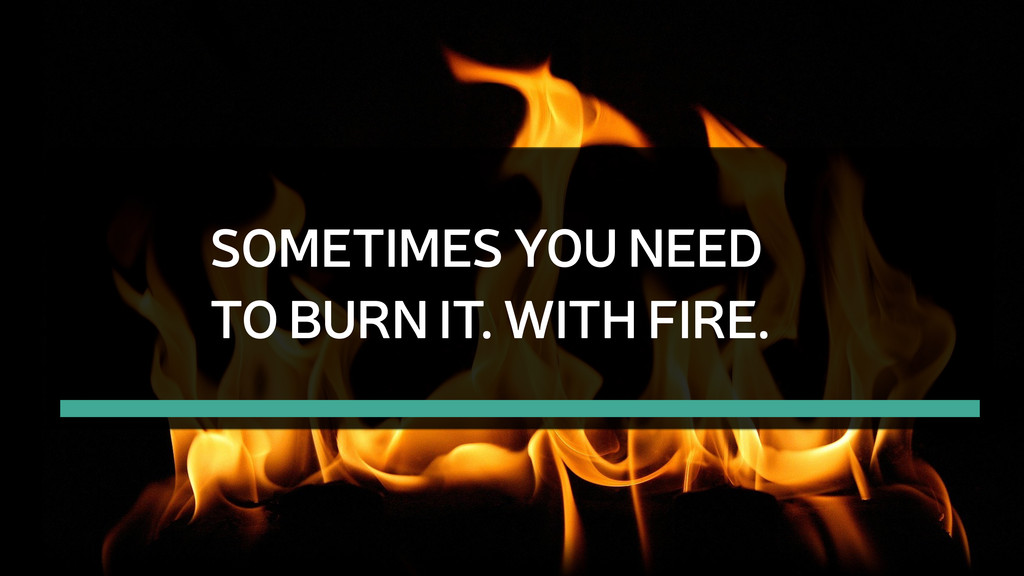 SOMETIMES YOU NEED TO BURN IT. WITH FIRE.