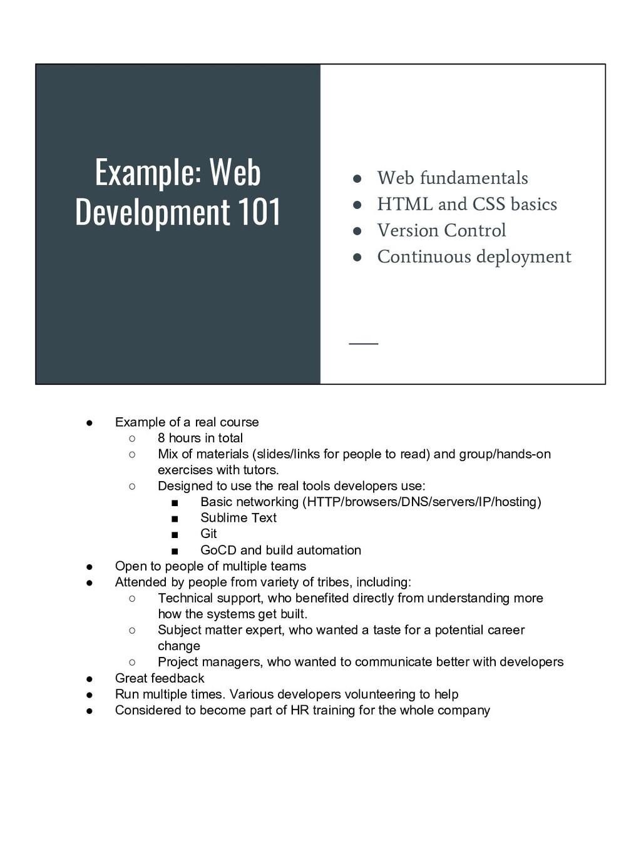 Example: Web Development 101 ● Web fundamentals...