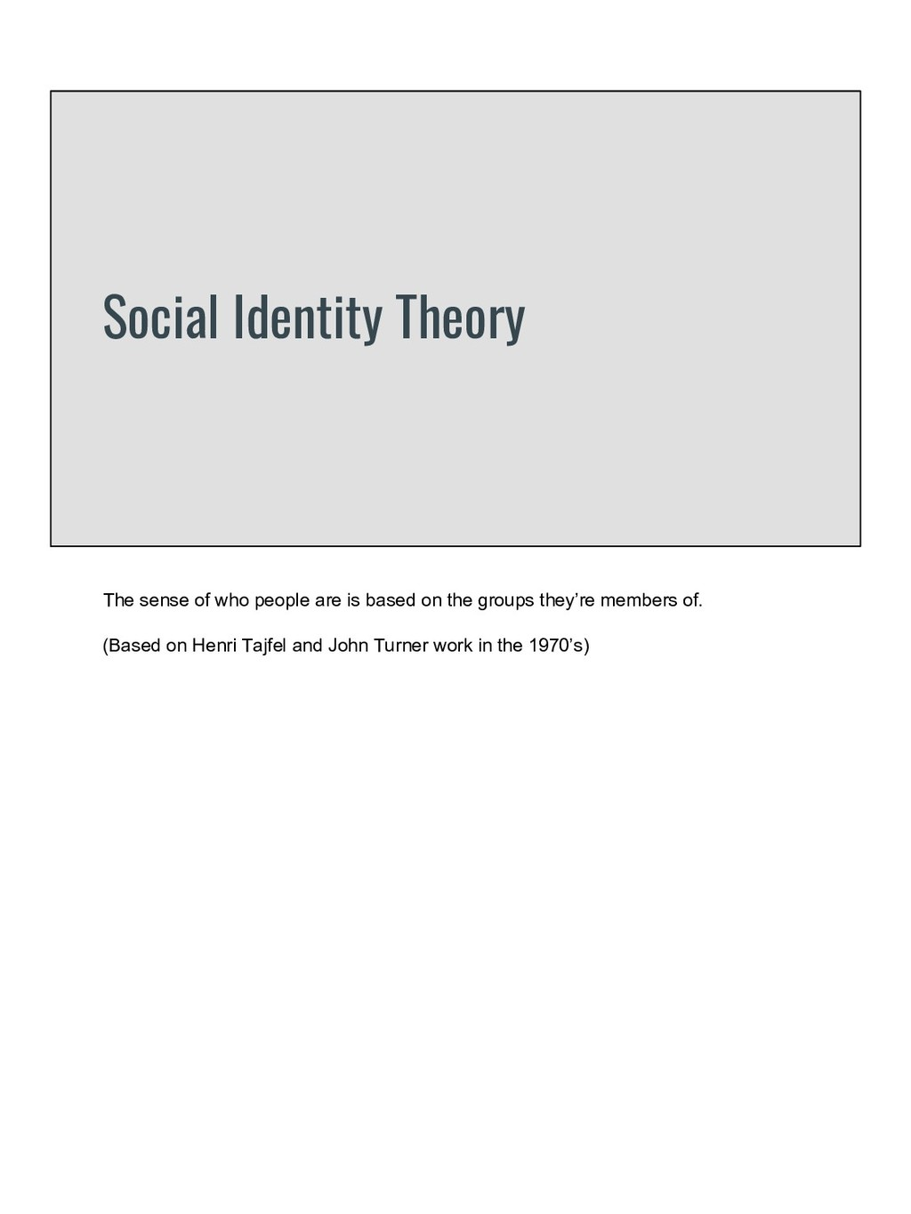 Social Identity Theory The sense of who people ...