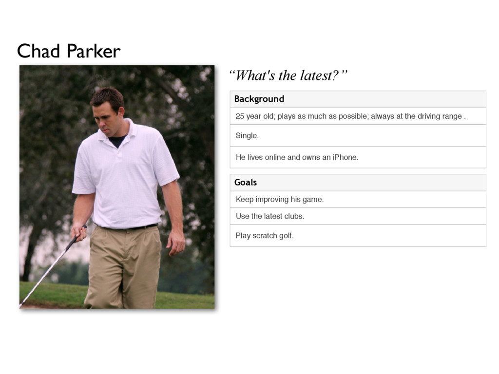 Chad Parker Play scratch golf. Use the latest c...