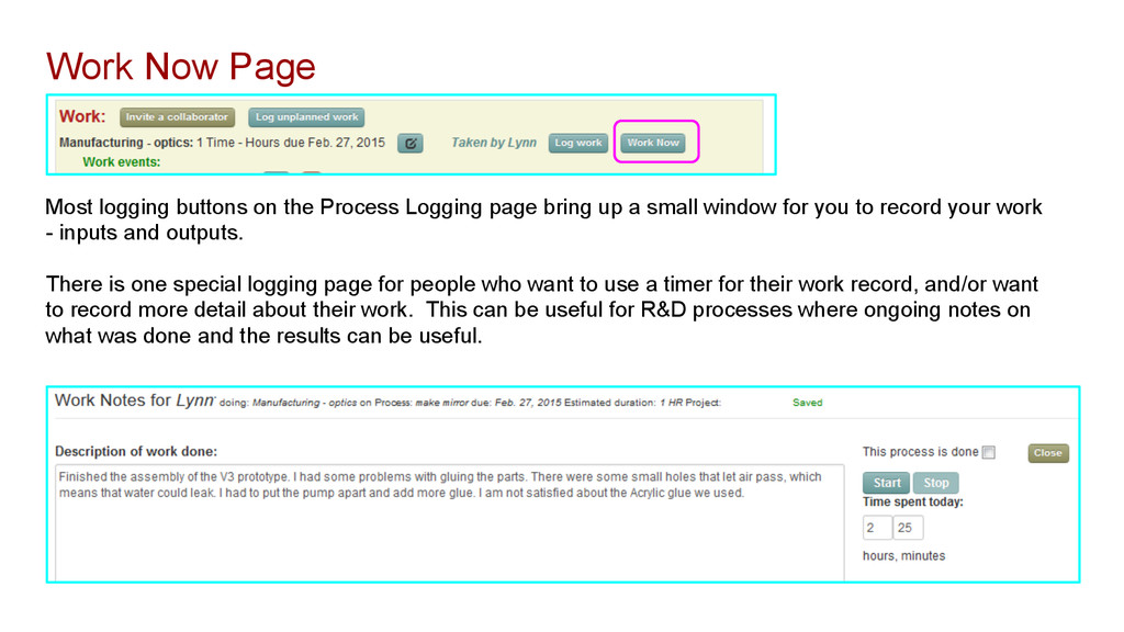 Most logging buttons on the Process Logging pag...