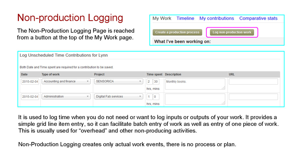 It is used to log time when you do not need or ...