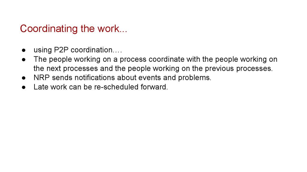 Coordinating the work... ● using P2P coordinati...